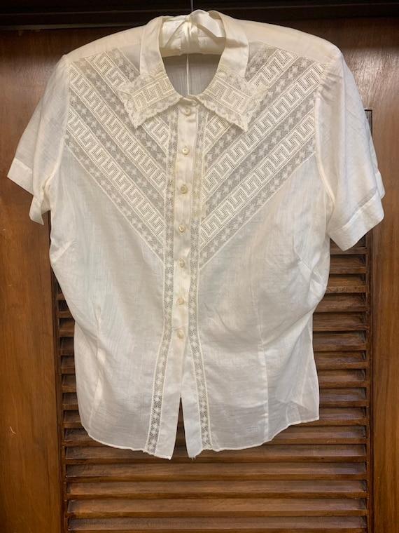 Vintage 1920's Lace & Cotton Blouse, Vintage Clot… - image 4