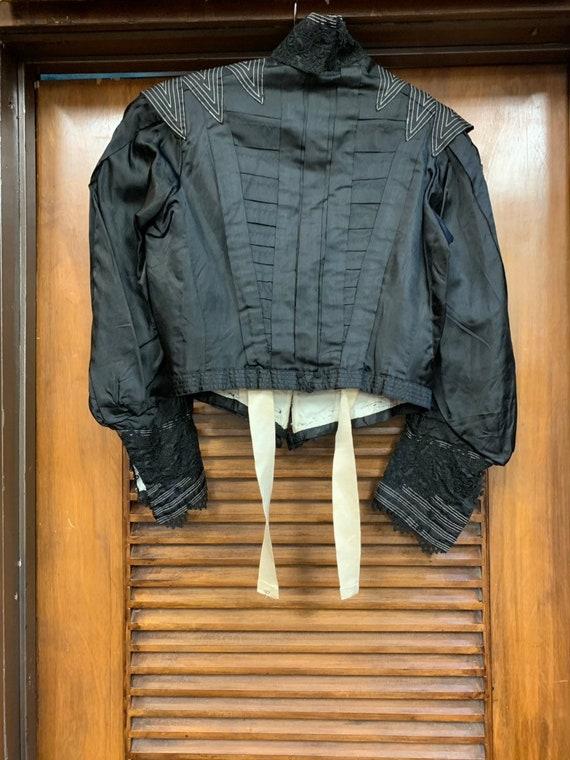 Vintage Victorian Black Silk & Lace Paneled Blous… - image 5