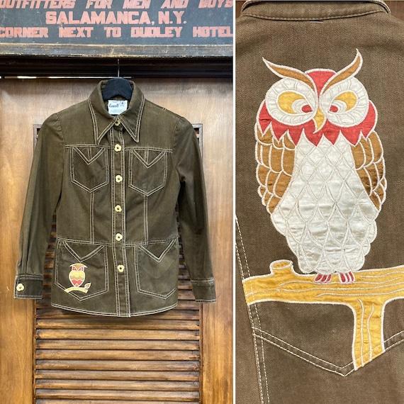 """Vintage 1960's """"Roncelli"""" Label Owl Design Denim … - image 1"""