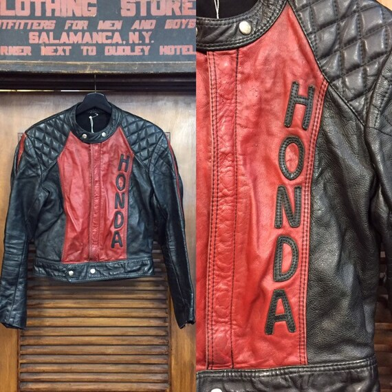 Vintage 1960's Honda Racing Leather Jacket, Vintag
