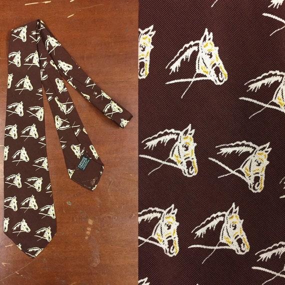 Vintage 1930's, Cheney Cravats, Horse Print Swing