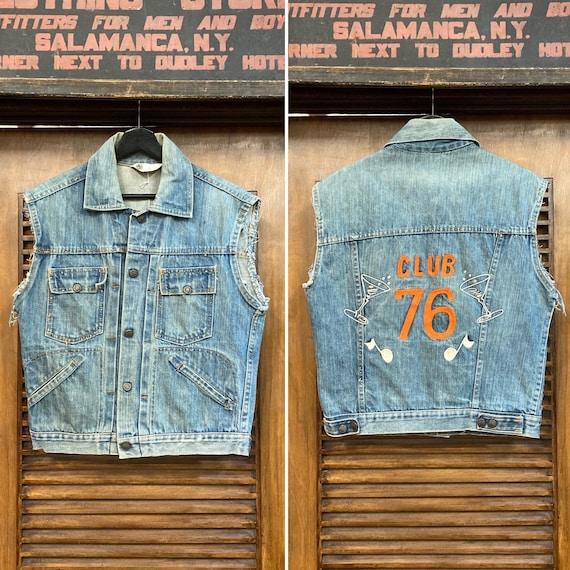 "Vintage 1960's ""Club 76"" Embroidery Denim Vest, 60"