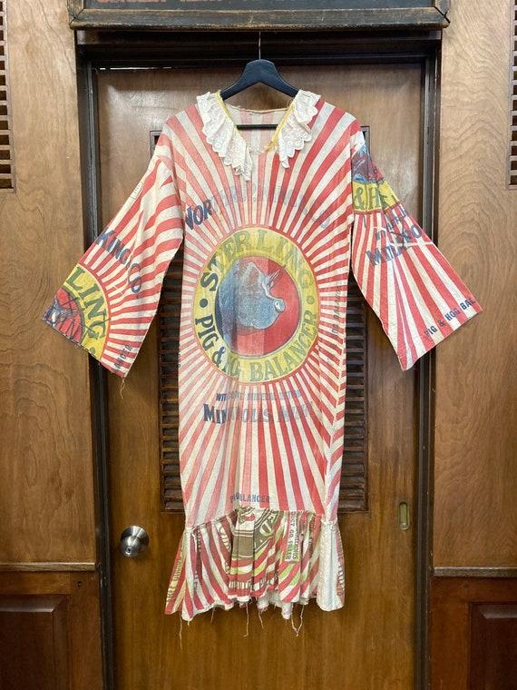 Vintage 1960s Feed Sack Pop Art Dress, Vintage 19… - image 2