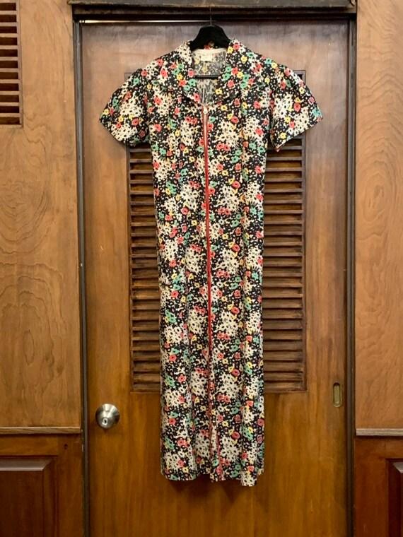 Vintage 1930's Black Floral Cotton Dress, Vintage… - image 3