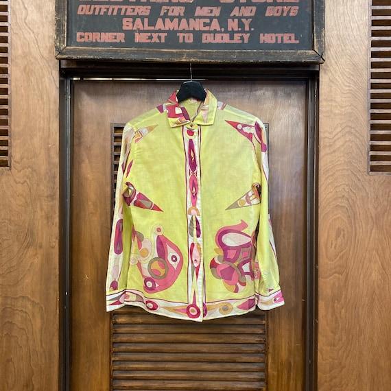 Vintage 1960's Emilio Pucci Mod Cotton Blouse Top… - image 2