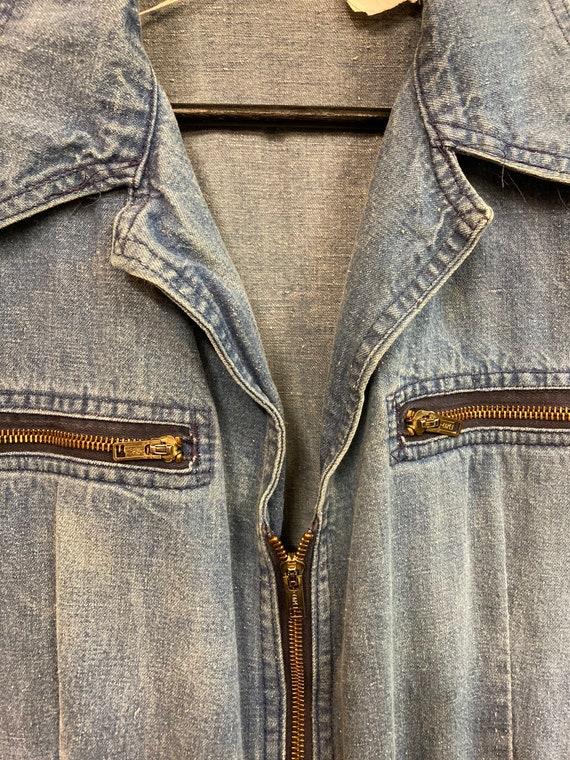 "Vintage 1970's ""Male"" Label Denim Jumpsuit with F… - image 4"