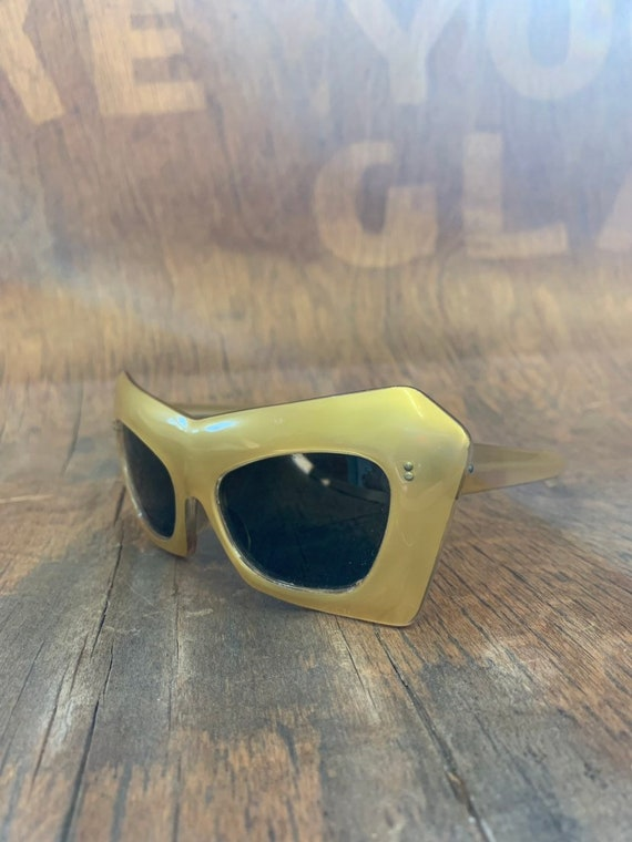 Vintage 1960's Gold Mod Plastic Sunglasses, Deadst