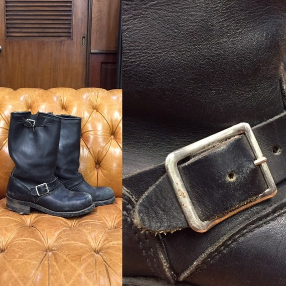 Vintage 1960's, Black Leather Boots, Motorcycle Bo