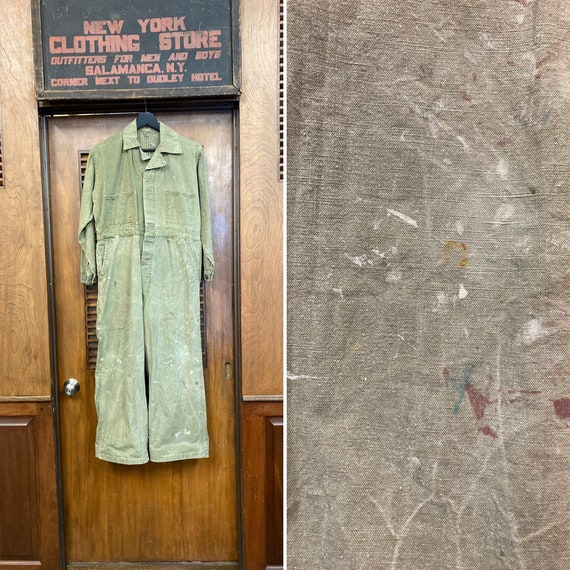 Vintage 1940's Green Military Workwear Coveralls,