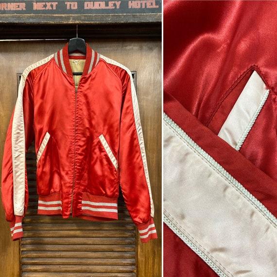 Vintage 1950's Satin Bomber Jacket with Stripes, 5