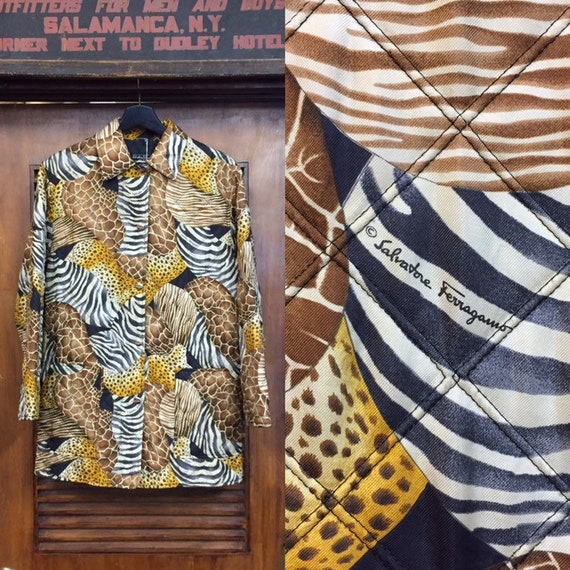 Vintage 1980's Ferragamo Animal Print Quilt Jacket