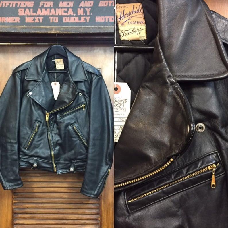 Vintage 1950s Taubers Label Horsehide Motorcycle Leather image 0