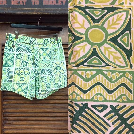 Vintage 1940's Hawaiian Print Shorts w30, Vintage