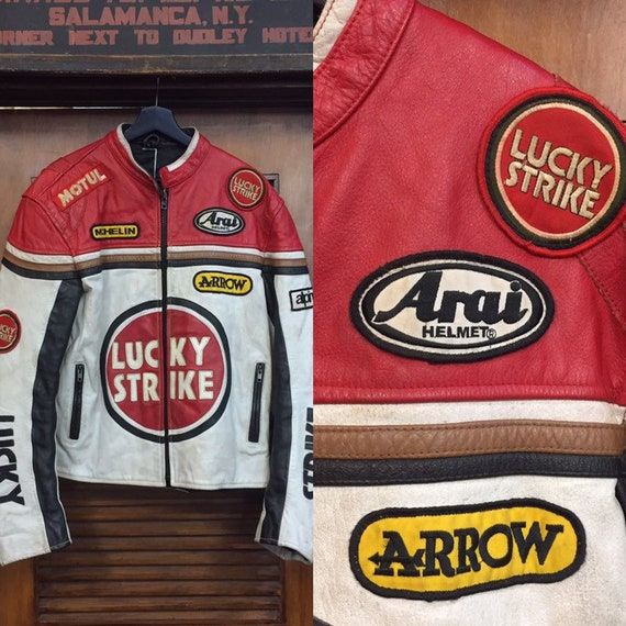 """Vintage 1980's """"Lucky Strike"""" Leather Racing Logo"""