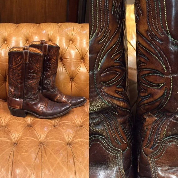Vintage 1960's Western Cowboy, Brown Boots, Stitch