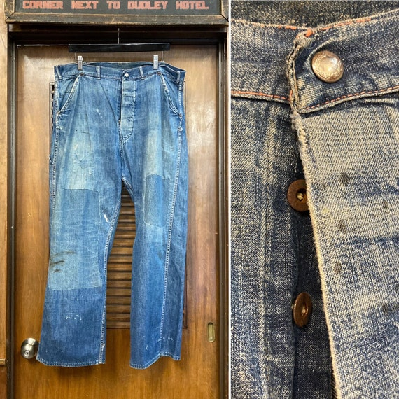 Vintage 1940's Button Front Carpenter Jeans Farm W