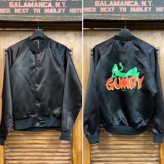 Vintage 1980's Gumby Cartoon Satin Bomber Jacket,