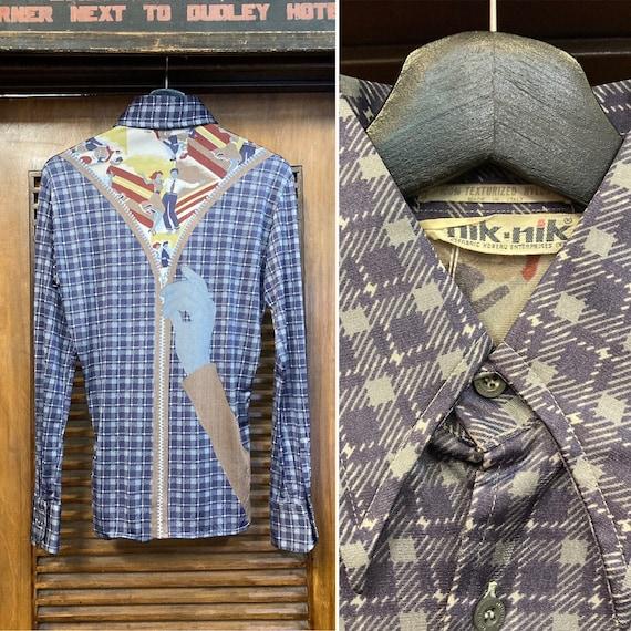Vintage Men/'s Nik NIk Blue Green Purple Striped Disco Short Sleeve Dress Shirt Size Large!