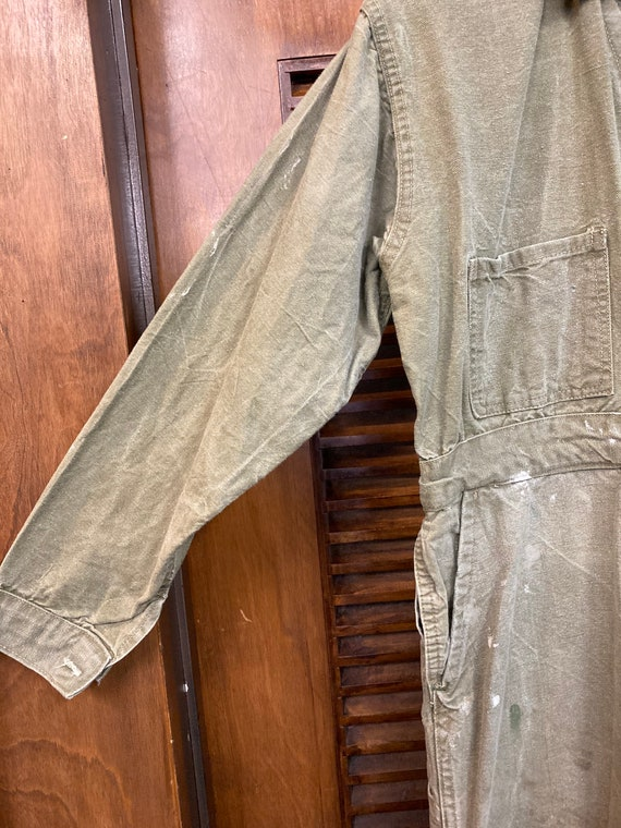 Vintage 1940's Green Military Workwear Coveralls,… - image 5