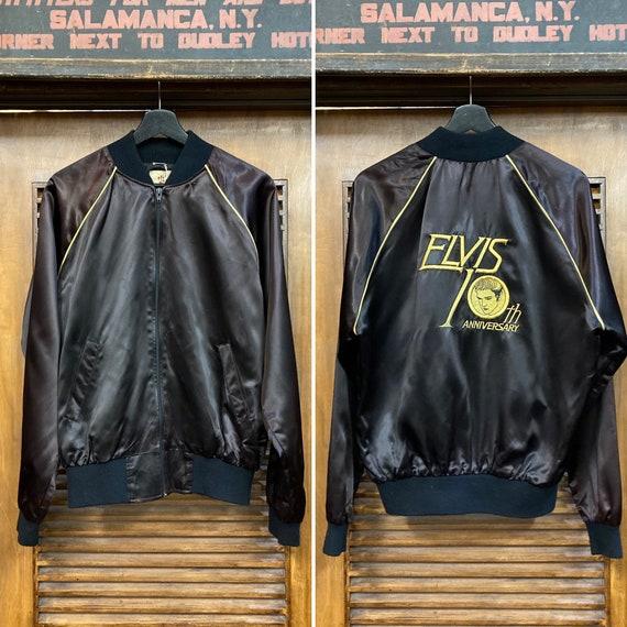 Vintage 1980's Elvis Satin Bomber Jacket, 80's Jac