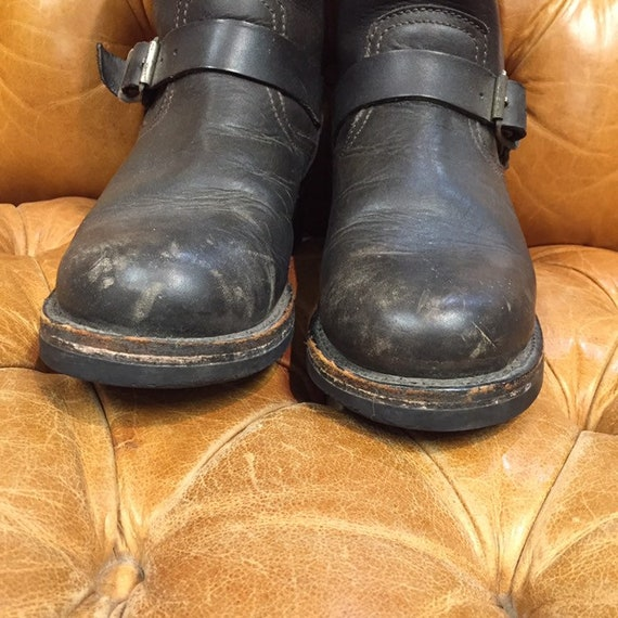 Vintage 1980s, Black Leather Boots, Motorcycle Bo… - image 3