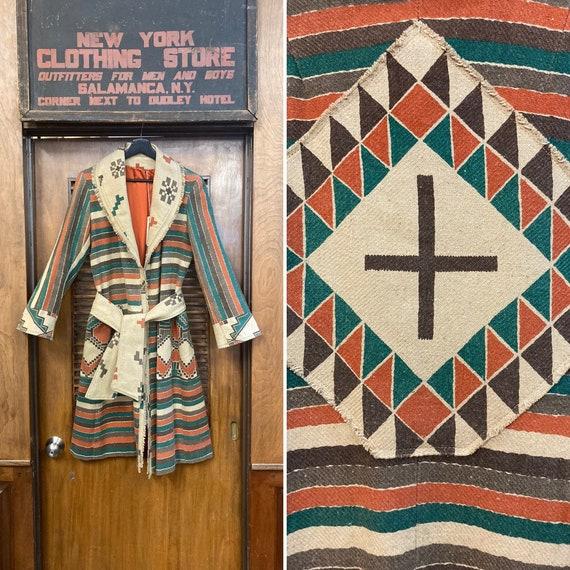 Vintage 1970's Southwestern Serape Duster Coat Ja… - image 1