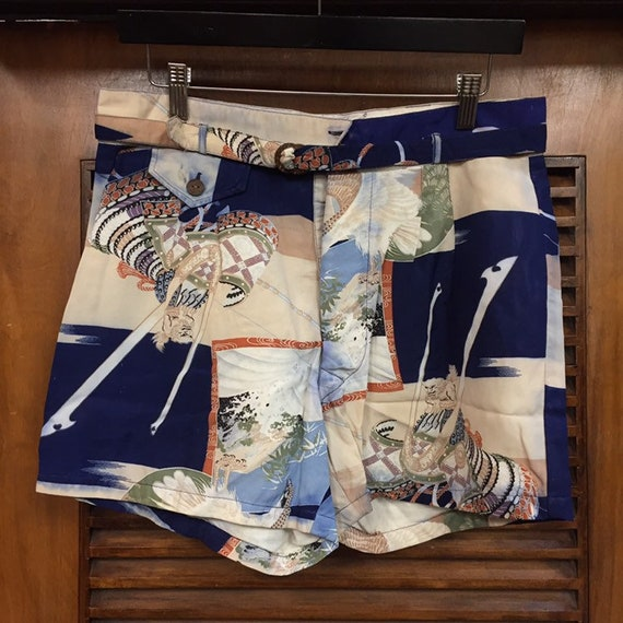 Vintage 1940's East Asian Pattern Leisure Shorts … - image 3