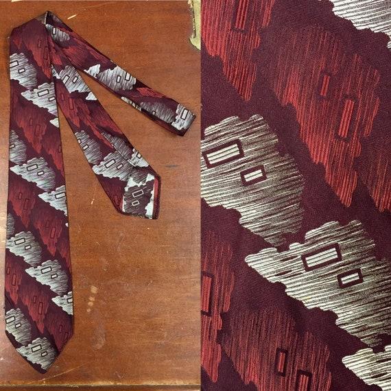 Vintage 1930's, Silk, Rayon, Abstract Arrowhead De