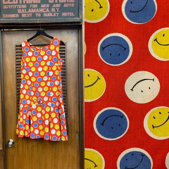 Vintage 1960's / 1970's Smiley Face Pop Art Dress,