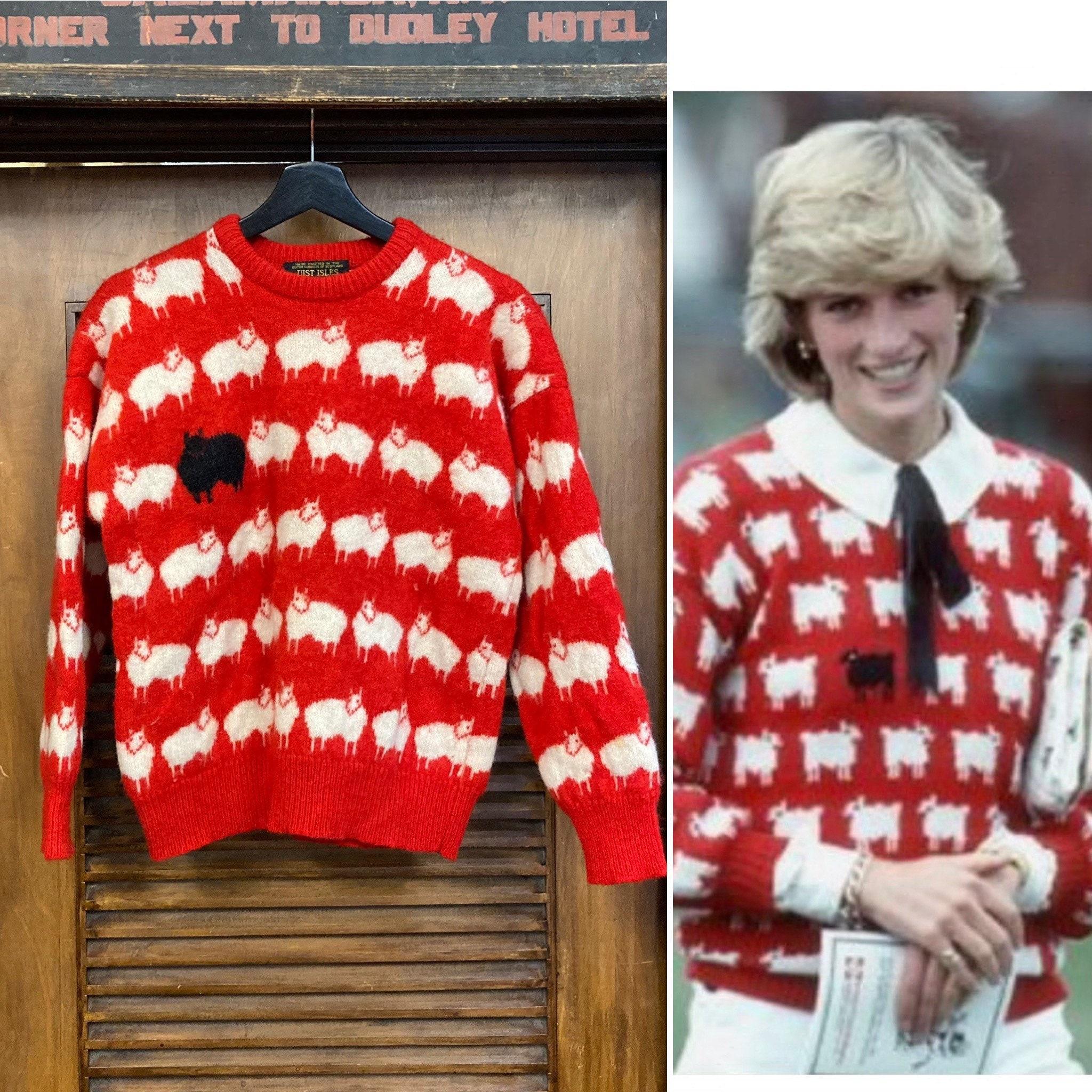 80s Sweatshirts, Sweaters, Vests | Women Vintage 1980s Black Sheep Design Princess Diana Scotland Wool Sweater, 80s New Wave, Pullover Clothing $350.00 AT vintagedancer.com