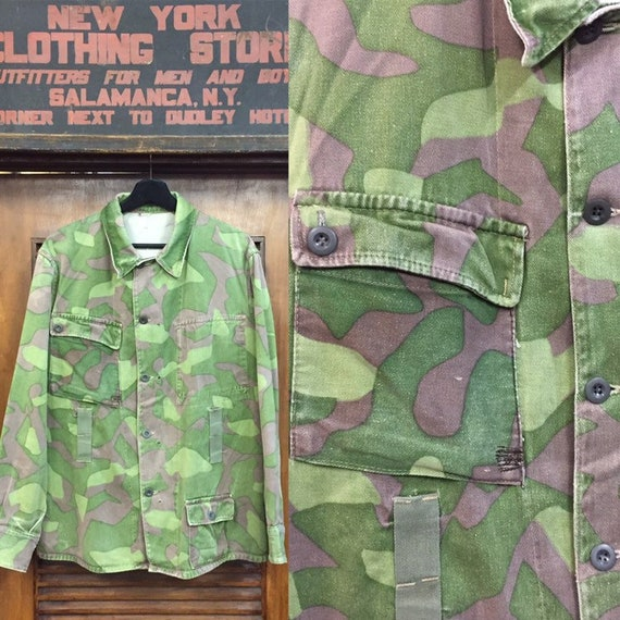 Vintage 1980's Finland Camouflage Military Jacket,