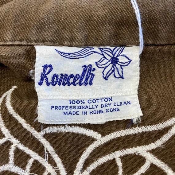 """Vintage 1960's """"Roncelli"""" Label Owl Design Denim … - image 10"""