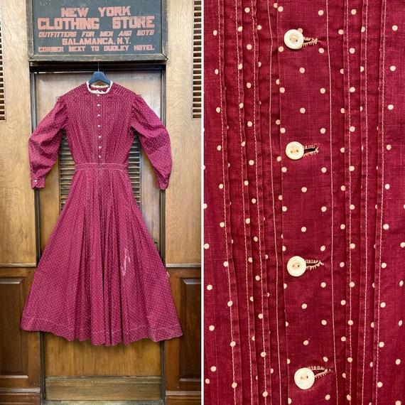 Vintage 1910's Antique Calico Dot Cotton Prairie … - image 1