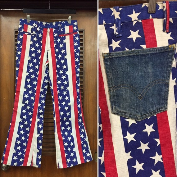 Vintage 1960's Stars and Stripes Flare Pants with