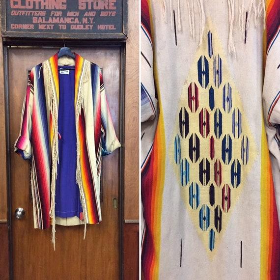 Vintage 1980's Serape Southwestern Duster Coat, Vi