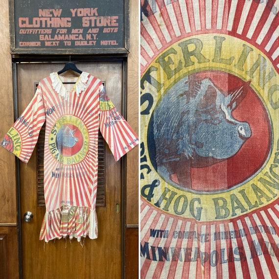 Vintage 1960s Feed Sack Pop Art Dress, Vintage 19… - image 1