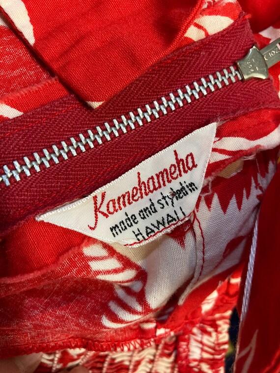 Vintage 1950's Kamehameha Label Cotton Floral Tik… - image 5