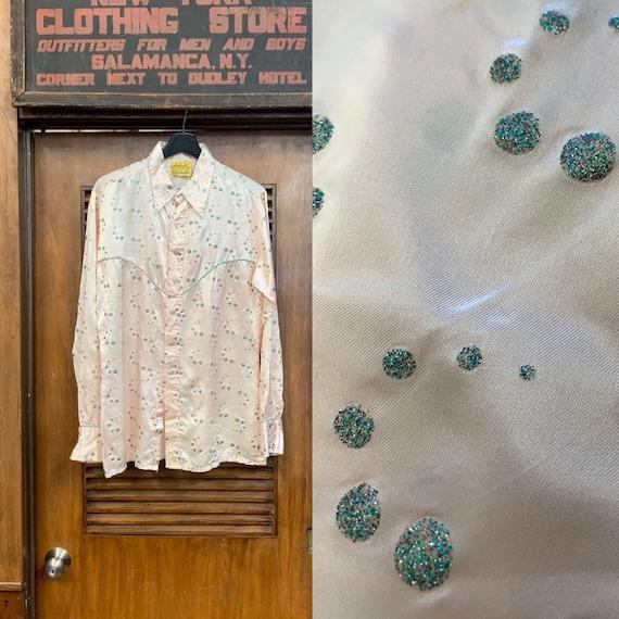 Vintage 1970's Jizz Glamrock Glitter Bubble Weste… - image 1
