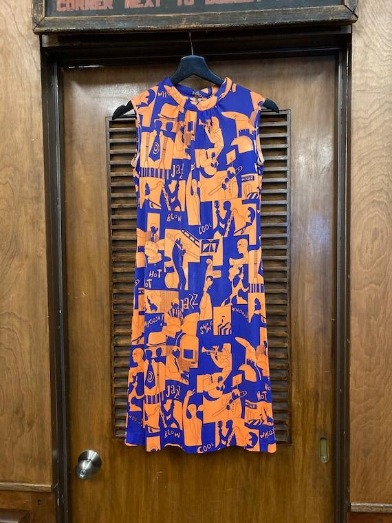 Vintage 1960's Jazz Music Pop Art Dress, Vintage … - image 2