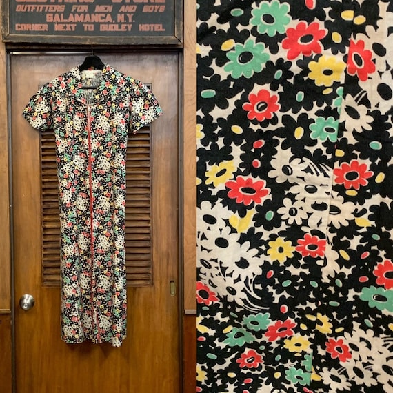 Vintage 1930's Black Floral Cotton Dress, Vintage