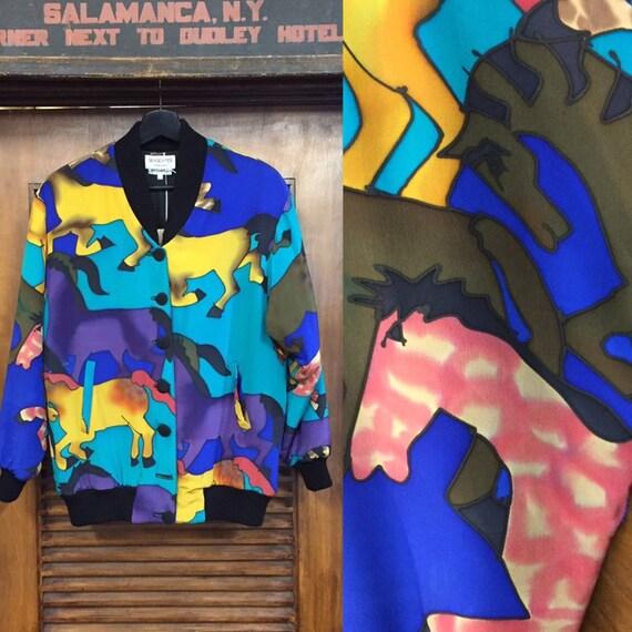 """Vintage 1980's """"Silkscapes"""" Horse Pattern Bomber J"""