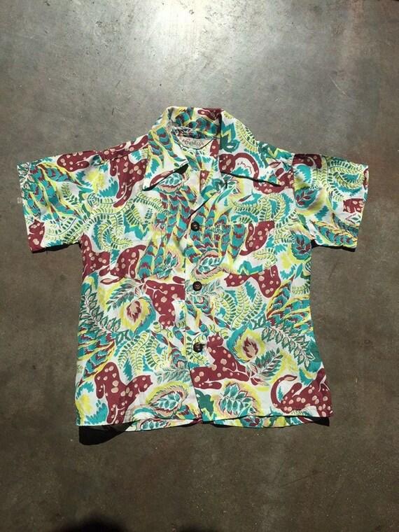 Vintage 1950's Boys' Jungle Jaguar Print Shirt Haw