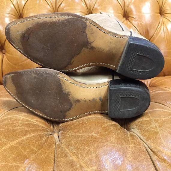Vintage 1980's, Beige Leather Cowboy Boots, Weste… - image 10