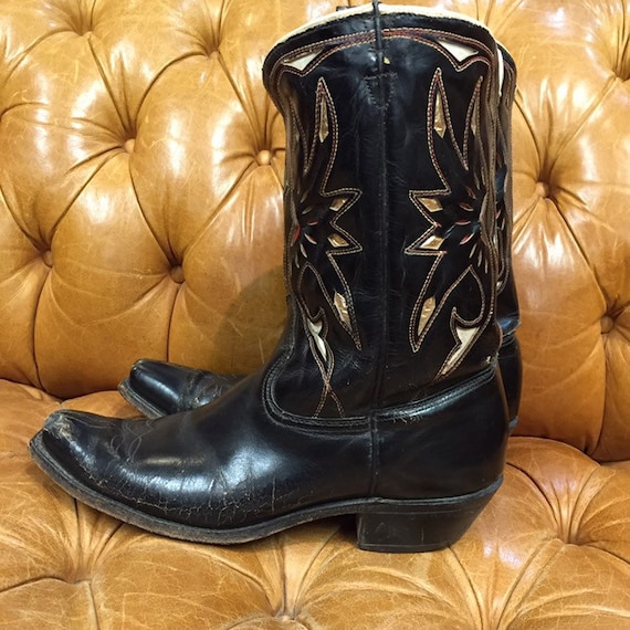 Vintage 1950s, Acme Boots,  Black Leather Cowboy … - image 2
