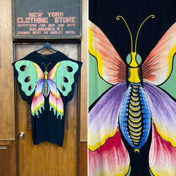 Vintage 1980's Butterfly Caftan Dress, Vintage Caf