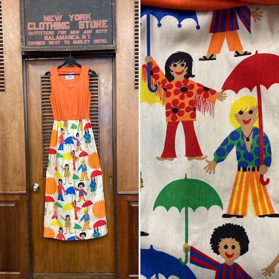 Vintage 1960's Umbrella Kid Artwork Mod Maxi Dress