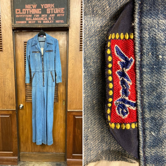 "Vintage 1970's ""Male"" Label Denim Jumpsuit with Fl"