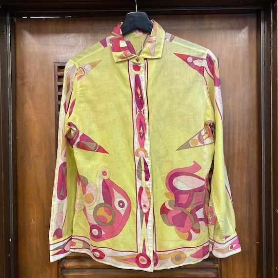 Vintage 1960's Emilio Pucci Mod Cotton Blouse Top… - image 3