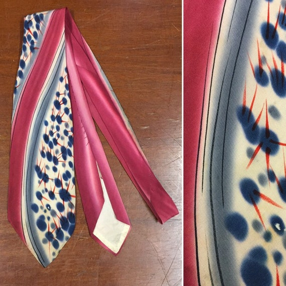 Vintage 1940's Necktie, Hand Painted Abstract, 195