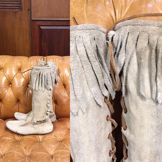 Vintage 1970's Fringe Knee High Boots, Suede, Mocc